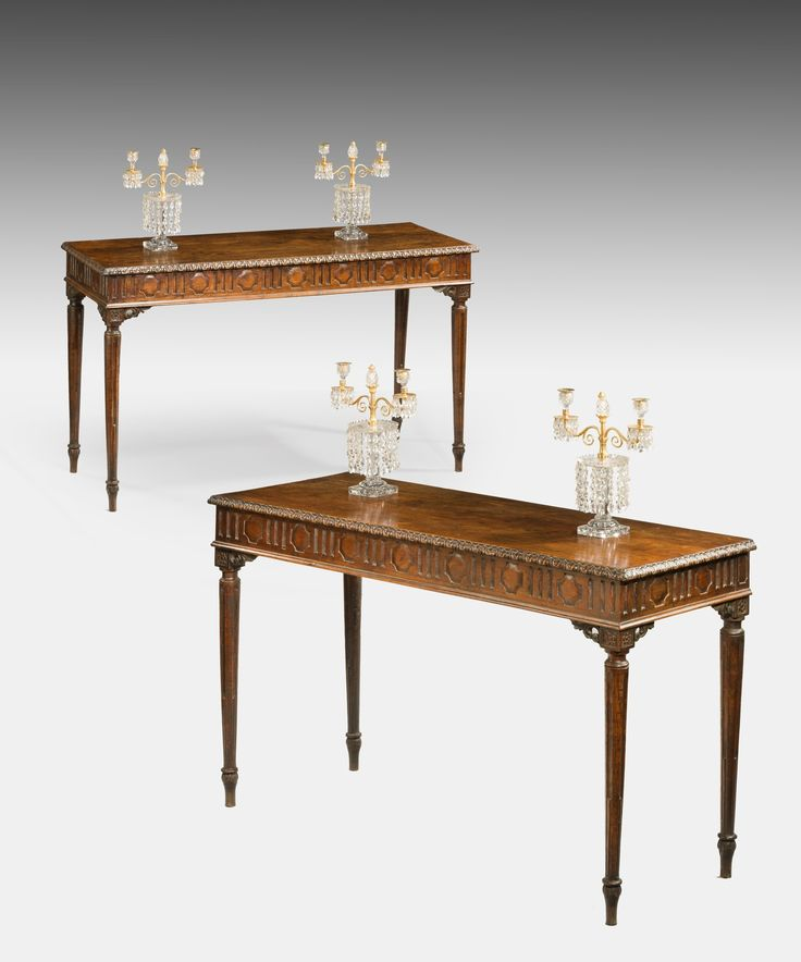 ... Chestnut Console Tables; The Tops With A Running Acanthus Moulding To  The Edge Above A Geometrically Carved Frieze And Raise On Elegant Stop  Fluted ...
