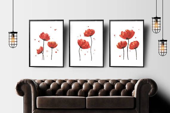 Red flowers set of 3 prints abstract flower painting