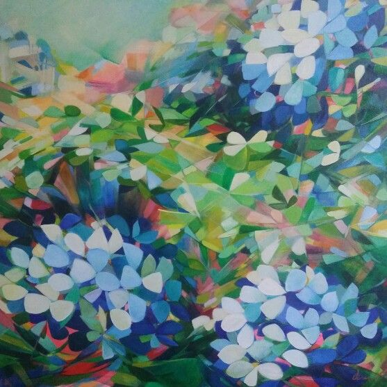 Kaleidoscope, Hydrangeas in pthalo and neon. 92cm square. Jenni Stringleman