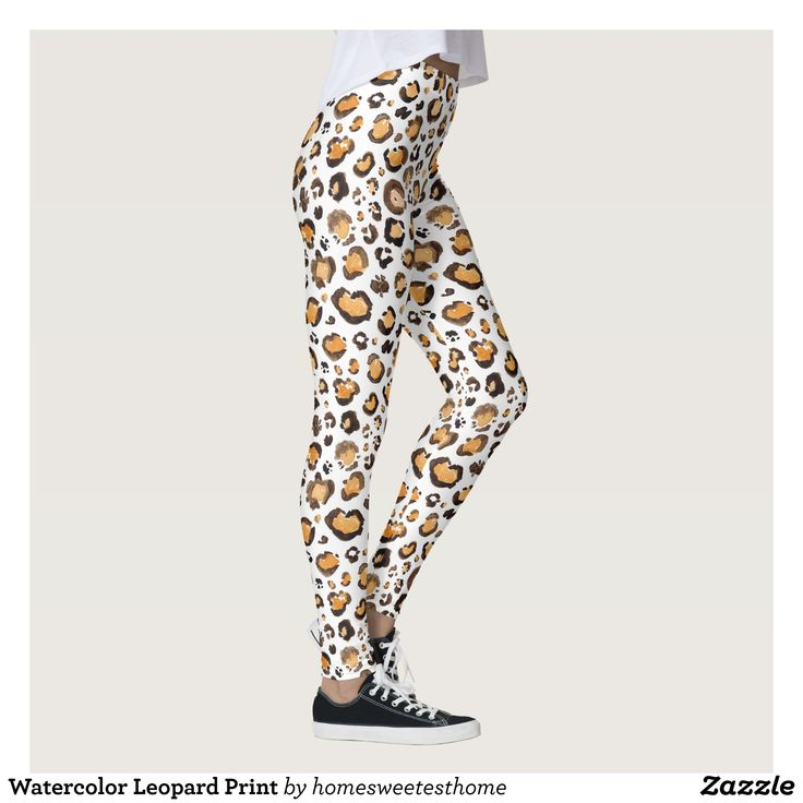 Watercolor Leopard Print Leggings : Beautiful #Yoga Pants - #Exercise Leggings and #Running Tights - Health and Training Inspiration - Clothing for #Fitspiration and #Fitspo - #Fitness and #Gym #Inspo - #Motivational #Workout Clothes - Style AND comfort can both be achieved in one perfect pair of unique and creative yoga leggings - workout and exercise pants - and running tights - Each pair of leggings is printed before being sewn allowing for fun designs on every square inch - Medium weight…
