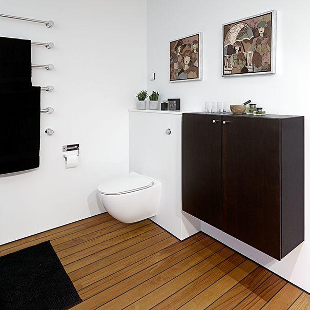 Minimalistisk   med maritime undertoner, badeværelse inspiration ...