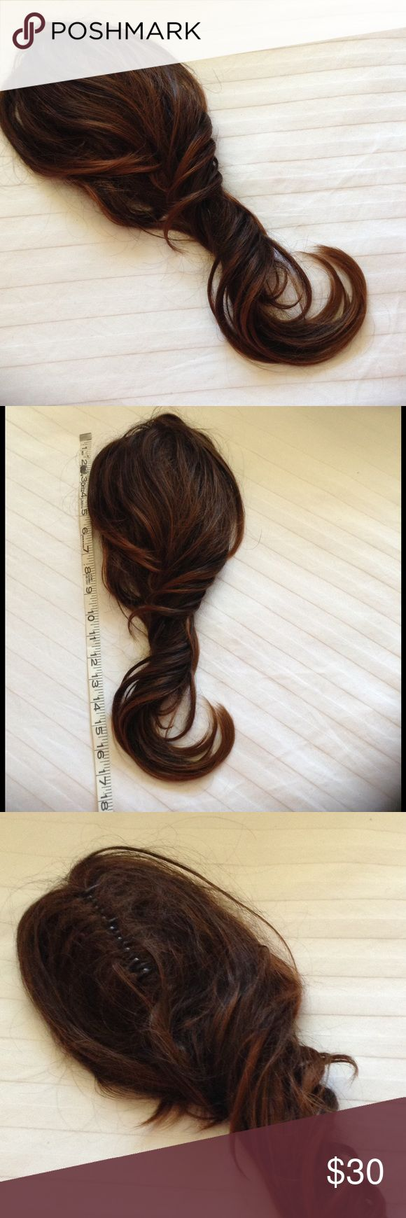 GORGEOUS LONG BROWN CURL PONY TAIL NWOT GORGEOUS LONG CURL BROWN WITH HIGH LIGHTED PONY TAIL NWOT PLEASE LOOK AT SECOND PIC FOR MEASUREMENTS FEELS LIKE REAL HAIR, NEEDS TO BE COMBED OUT, HAS BEEN STORED AWAY Accessories