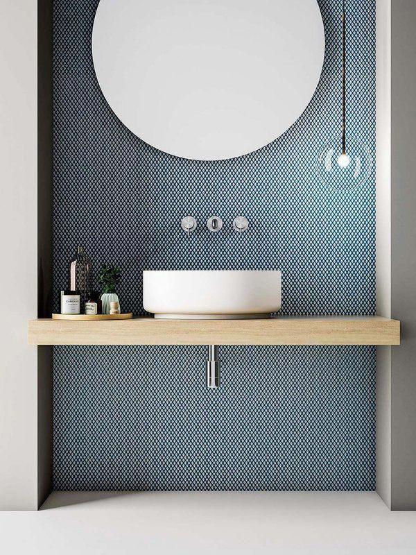 Blue Tile Bathroom Modern Bathroom Vessel Sink Pendant Over