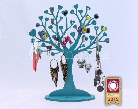 Wooden heart IN LOVE Jewelry Tree Stand TURQUOISE blue /Jewelry Organizers/Jewelry Stands /Jewellery Holders, Organiser, original handmade