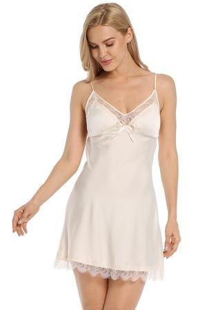 225f136ca32f Satin Lace Full Slip Chemise Silk Nightgown #womansfashion #nightwear # sleepwear #nightdress #nightgown