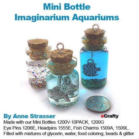 Wow! Look what Anne just dreamed up with our newest jug-style mini glass bottles! What GREAT little gifts these would make! She combined several ideas into one cool themed creative set - combining...