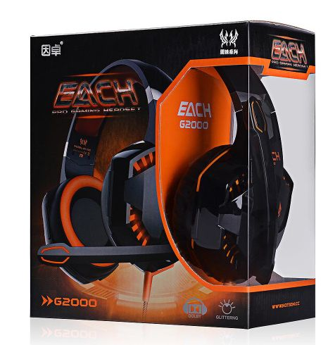 G2000 Deep Bass Headphone Stereo Surrounded Over-Ear Gaming Headset Earphone with Light for PC
