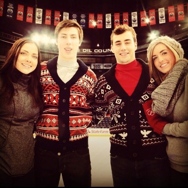Ryan Nugent-Hopkins and Jordan Eberle from the Edmonton Oilers in a family skate at Rexal Place with their lovely girlfriends. #fun #oilers #skating #RexalPlace #hockey #family #girlfriend #Edmonton #yeg