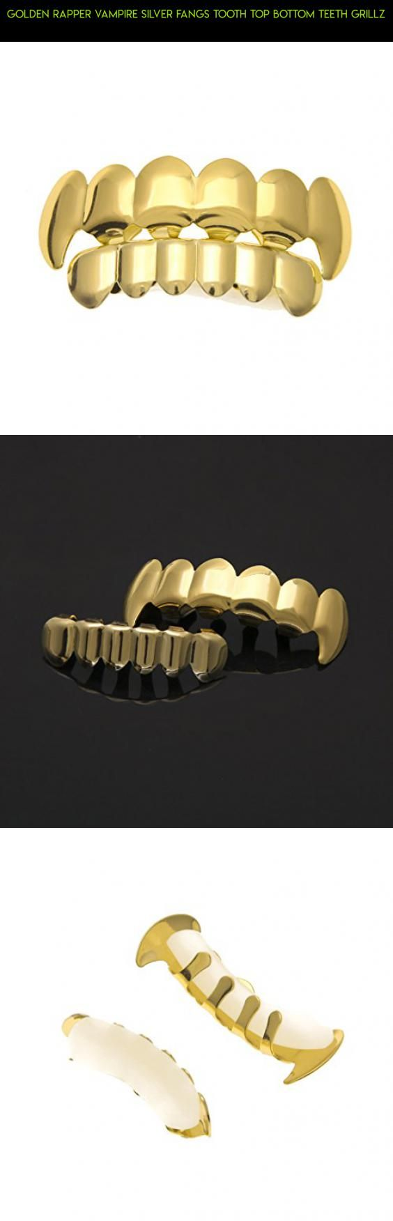 Golden Rapper Vampire Silver Fangs Tooth Top Bottom Teeth Grillz #grills #plans #drone #parts #tech #products #gadgets #kit #5 #for #fpv #camera #racing #technology #shopping #teeth