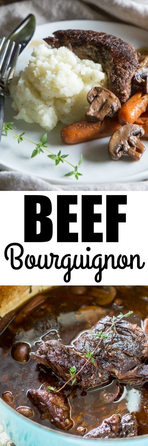 This easy Beef Bourguignon recipe roasts low and slow in a red wine sauce until it's meltingly tender! Great for Sunday supper or shredded for sandwiches.