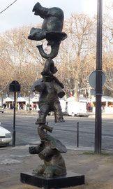 Philippe Berry-Equilibre d'éléphants 4m -pièce unique en bronze
