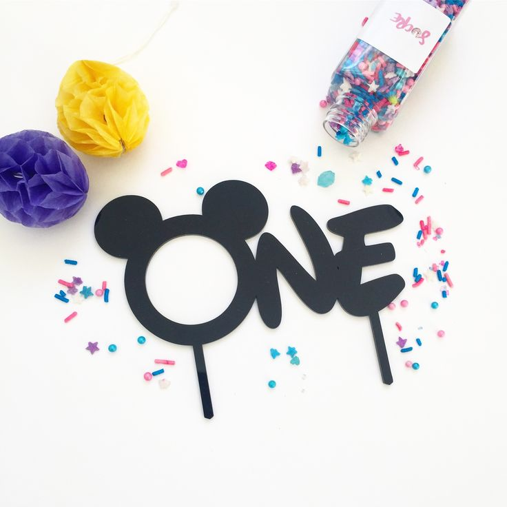 MICKEY one Cake Topper in Black Acrylic