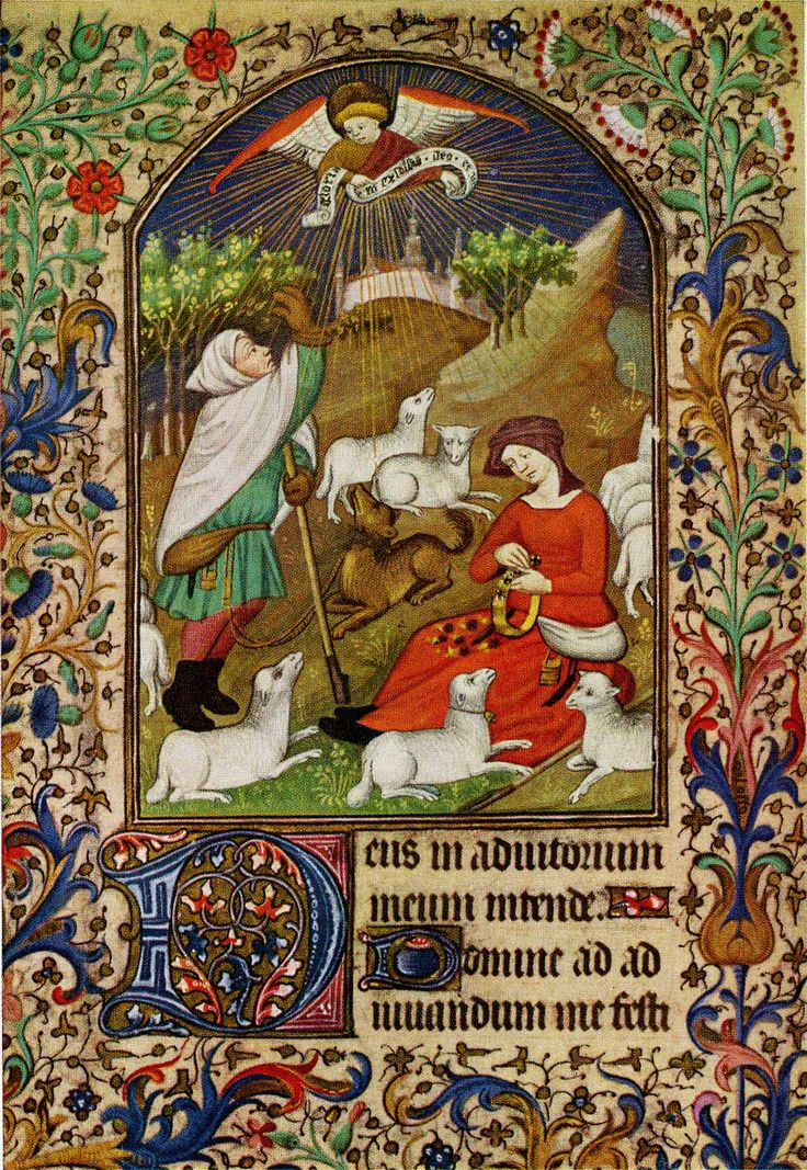 In this miniature from a French Book of Hours (c.1425-50), the shepherd's dog is tied to his girdle just as described in the 16th century English carol 'Jolly Wat the Shepherd' The Shepherd upon a hill was layd Hys doge to hys gyrdyll was tayd He had not slept but a lytill broyd But 'Gloria in Excelsis' was to him sayd! The shepherd also has some of the gear traditionally associated with shepherds: his pouch and crook, and some sort of mittens. To the right, the shepherdess is busily engaged…