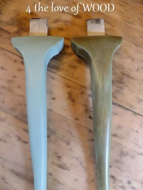 4 the love of wood: DARK WAXING A PAINTED DINING TABLE  The left leg is painted in the blue and clear waxed.  The right let has been dark waxed