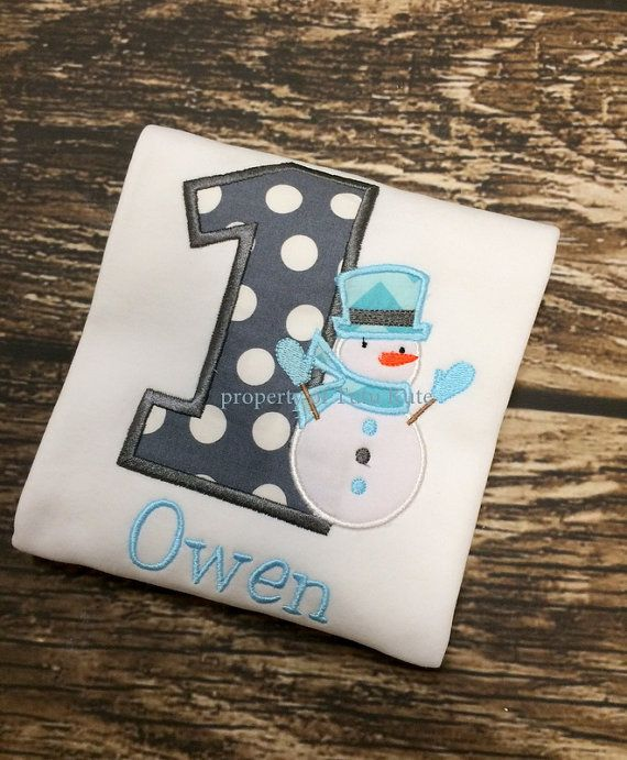 Snowman Birthday Shirt FREE Personalization, Girls or Boys, Winter Wonderland party on Etsy, $24.00