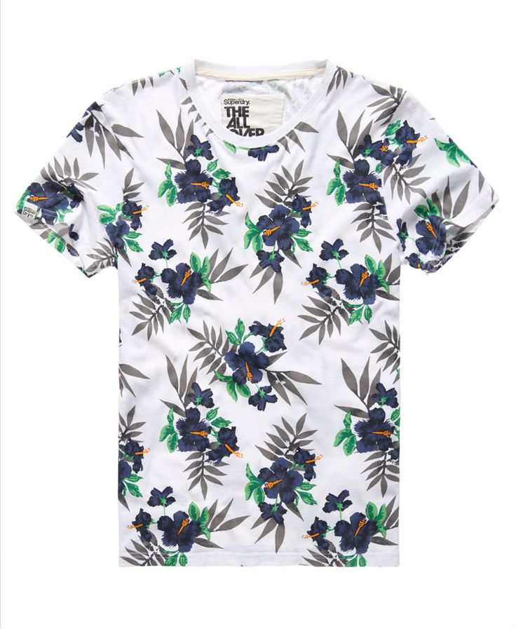 Mens - Dry Hawaiian Aop T-shirt in Optic White | Superdry