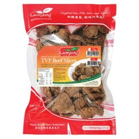 """Product Review: Lamyong TVP Beef Slices Lamyong TVP Beef Slices are a versatile vegan food product derived from soybeans. These TVP Beef Slices are a quick meat substitute for a myriad of different meals. They are high in protein, fibre and iron and yet cholesterol free. What they do not contain is onion, garlic, shallots,… <a href=""""http://vegfusion.org/product-review-lamyong-tvp-beef-slices/"""" class=""""more-link"""">Continue reading <span ..."""