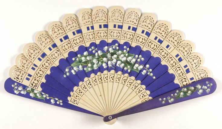 Late 19th century, probably America - Fan - Painted wooden sticks; silk ribbon