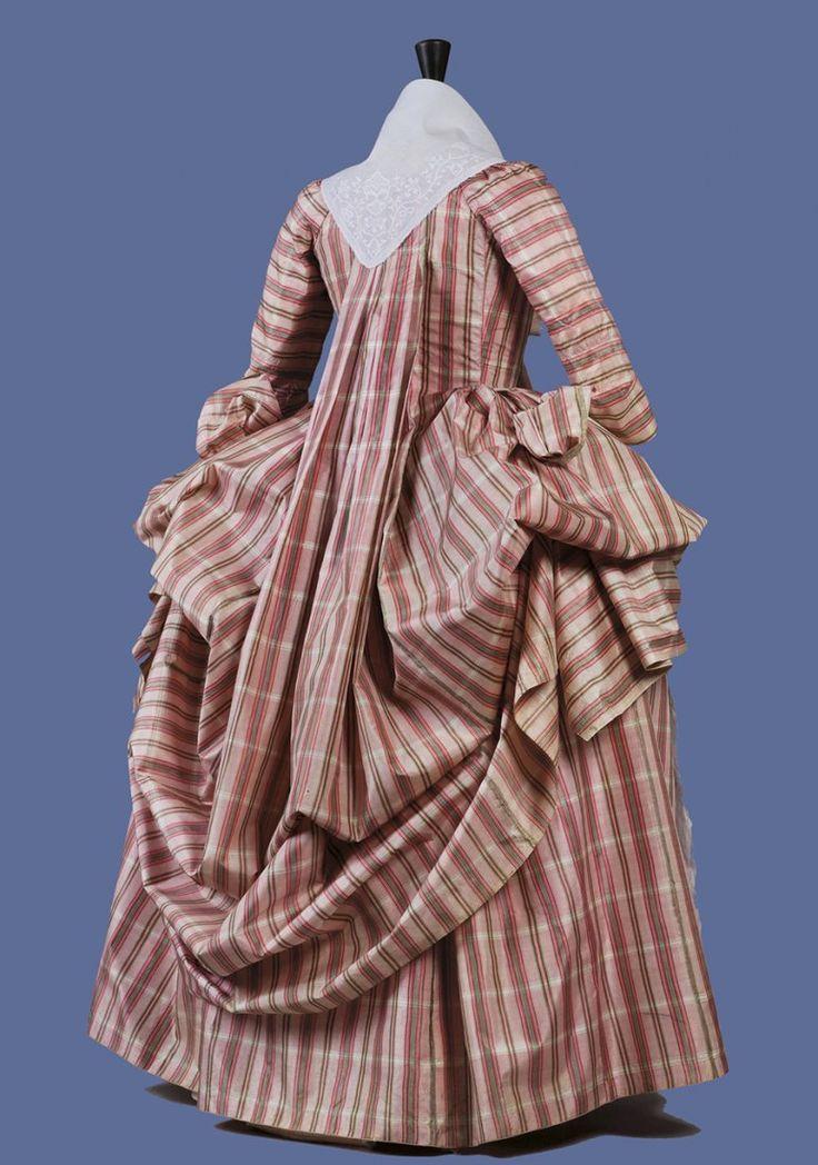 Rear view, robe à la francaise retroussée, c. 1770's. Pink, green and cream silk plaid.