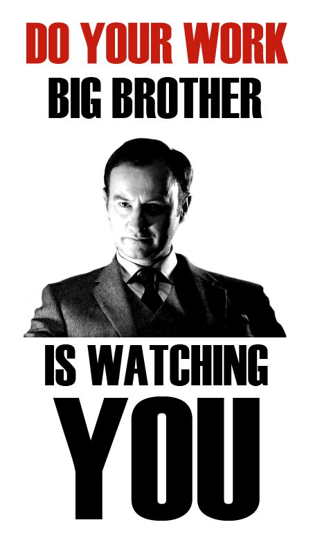 "The world needs more Mycroft motivational posters. I love Mycroft. My little brother and I have a Mycroft-Sherlock relationship. We fight like cats and dogs, but I've always be super protective of him. Plus, he likes to ask me ""How's the diet?"" and I threaten to pay his friends to spy on him."