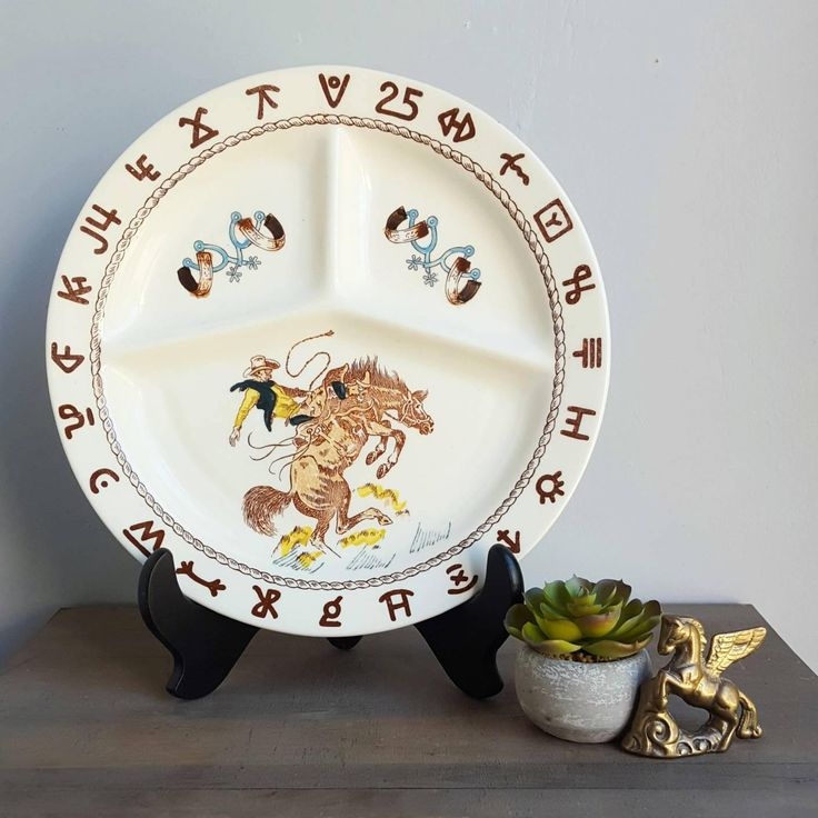 """Wallace China Western Ho Pattern Divided Plate, Art by Till Goodin, 11""""  Grill Plate, featuring Cowboy, Bucking Bronco Horse, Spurs, Brands"""