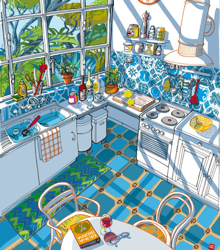 Italian Kitchen in the Summer light. Illustration by Carlo Stanga…
