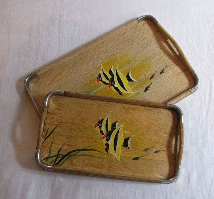 Vintage 1950s Bamboo and Chrome Hand-Painted Tropical Fish Serving Tray Set - Great Asian-Style Tiki Accessories! by Snootyparrot on Etsy