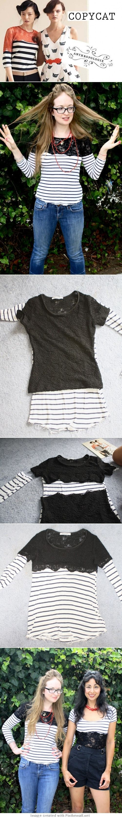 Anthropologie knockoff DIY Lace shouldered top using a lace shirt and a striped long sleeve tutorial. Actually makes two shirts!