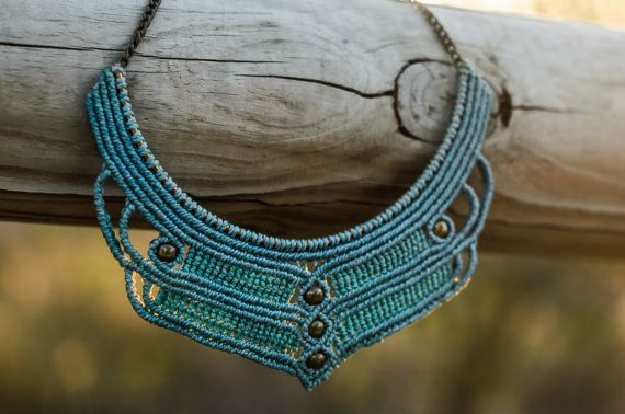 MACRAME bib NECKLACE vintage style blue and green water with golden chain…