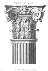 In Classical architecture, a Composite column is a column style that combines the Ionic and the Corinthian orders of architecture.    Developed by the Romans in about the first century BC, composite columns have highly decorated capitals (tops). The leaf decorations of the Corinthian style combine with the scroll designs that characterize the Ionic style.    In contemporary architecture, the term composite column can be used to describe any style column molded from a man-made composite…