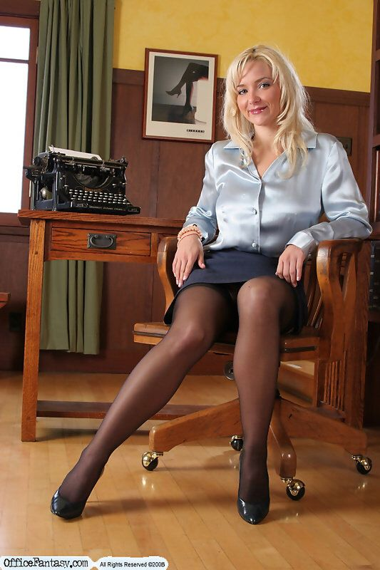 Office Tease In Black Stockings Special 73 Satin