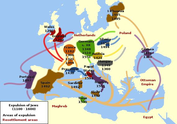 Expulsion of Jews (1100-1600). Why it never makes sense to ask a Jew what country their family is from.