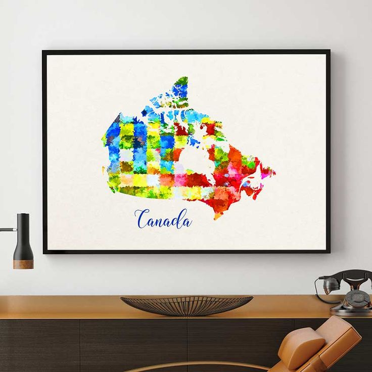 Canada Map Print, Canadian Wall Art, Canada Nursery Decor, Watercolor Map Print, Canadian Home Decor (707) by PointDot on Etsy