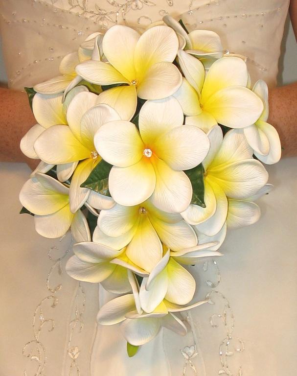 frangipani wedding bouquet