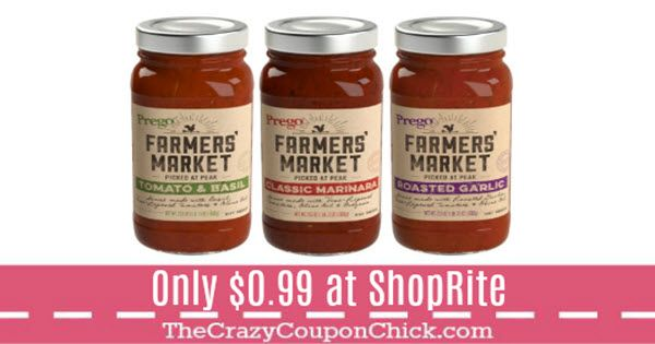 New ShopRite Digital -- Prego Farmer's Market Sauce Only $0.99 at ShopRite (thru 9/16)