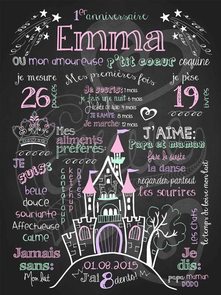 Affiche personnalisée 1er anniversaire Petite princesse (rose) | 28,00$ #chalkboard #lacraieco