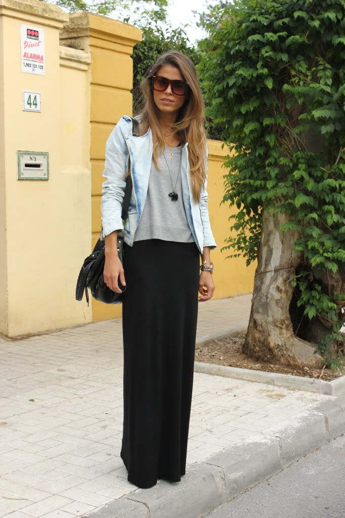 denim jacket - maxi skirt