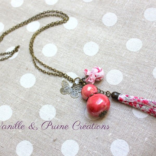 sautoir bronze poupee céramique rose tissu rose blanc3