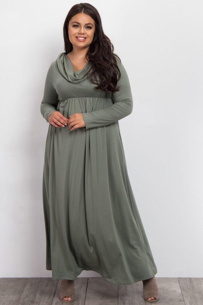 885b4bf5136 Green Foldover Off Shoulder Plus Maxi Dress