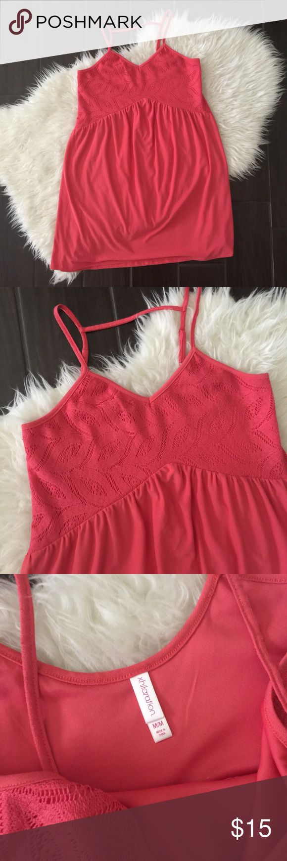 Coral lace dress. Coral dress. Lace coral dress Excellent used condition, no holes or stains. Please review photos for details and measurements. No trades Xhilaration Dresses