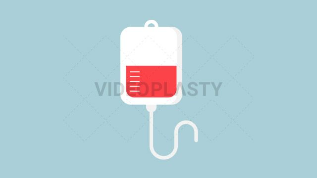 An IV (intra venous) bag half full with red blood designed in flat design style. Three version are included:in/out loop andin (can be extended with the loop version) Clip Length:10 seconds Loopable: Yes Alpha Channel: Yes Resolution:FullHD Format: Quicktime MOV