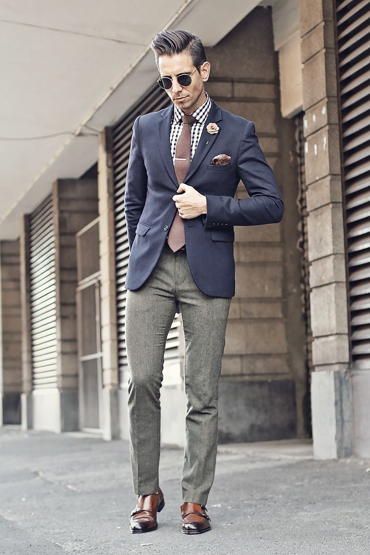 Mens Fashion - Blue Blazer, checked shirt, brown tie, silver tie clips, creme lapel flower, paisley pocket square, olive pants, brown double monk brogues