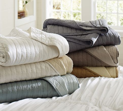 SILK CHANNEL TWO-TONED QUILT $340.00 - Pottery Barn - Duck Egg Blue