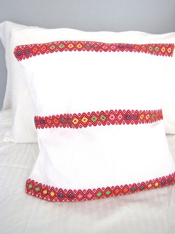 Woven Mexican Pillow Cover | Mayan Embroidery | White | Chiapas Bazaar | Handmade Mexican Blouses, Accessories & Home Decor from Rural Artisans