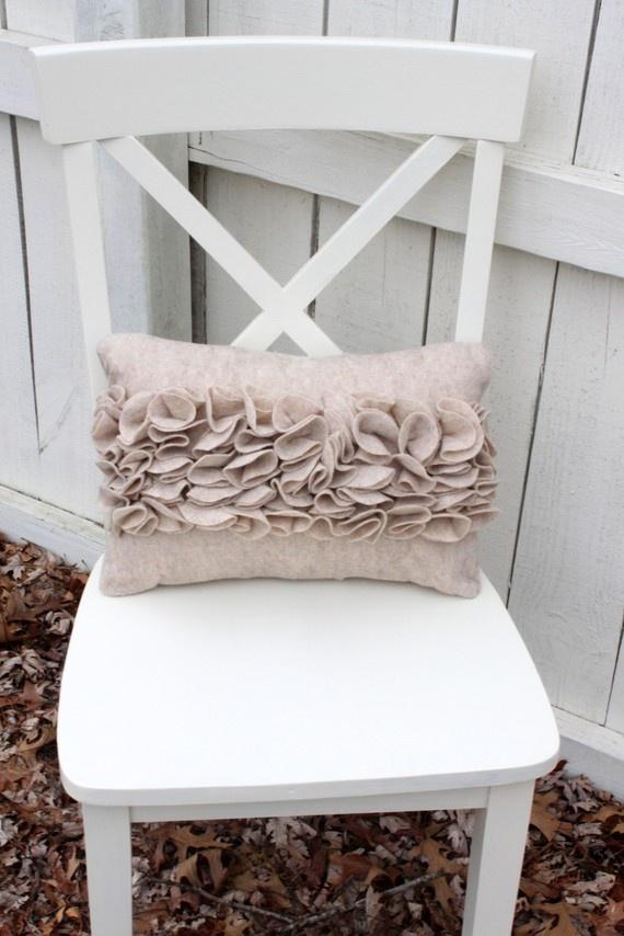Tan Ruffle Pillow by Loveoffamilyandhome