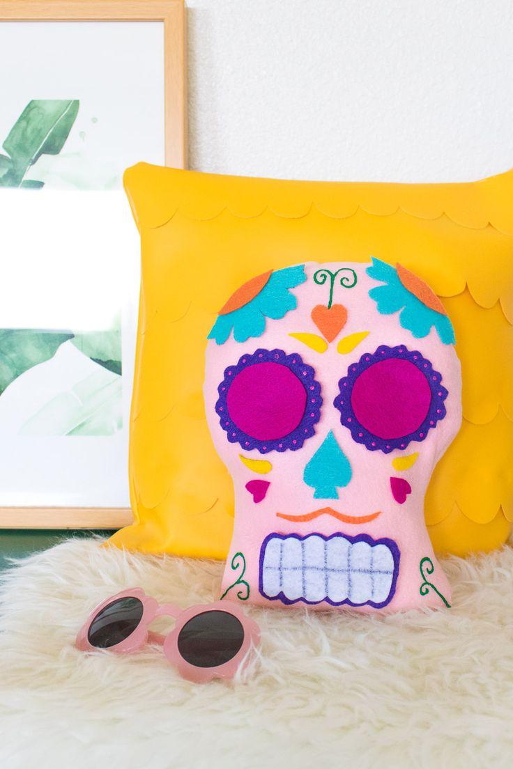 DIY Dia de los Muertos Sugar Skull Pillow