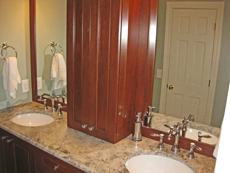 Master bathroom cabinetry cabinets are stained cherry for Master bathroom granite