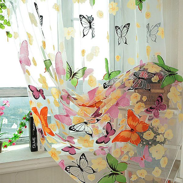 Hot Sales Factory Price! Butterfly Tulle Sheer Window Screen Door Balcony Curtain Panel Scarf Valance