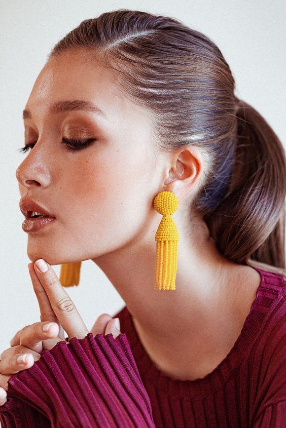 Bright yellow tassels | Statement earrings | Girlfriend is Better