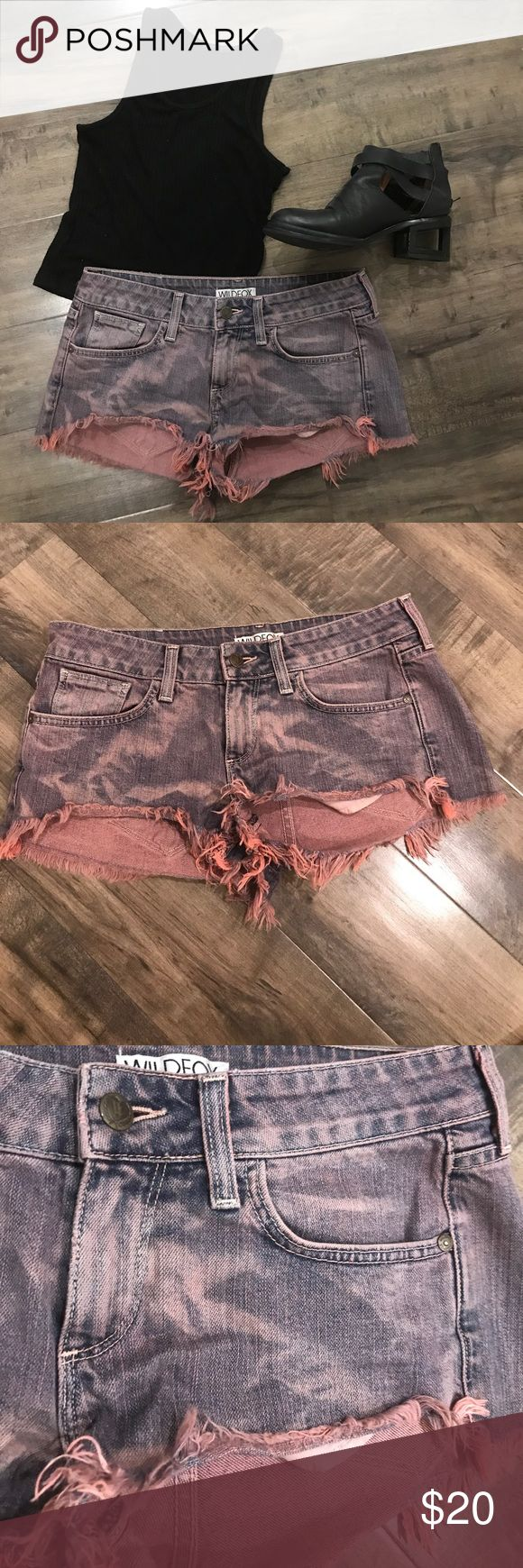 Wild fox shorts Awesome pink/dark purple ish frayed shorts! Perfect condition! Perfect for festivals or anything.... really cute on also have them in a teal color bundle and save $$$..Wild fox has a very flattering fit! Size 27 perfect condition only worn a couple times Wildfox Shorts Jean Shorts